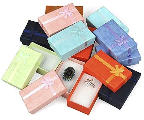 TRIXES 12 x Elegant Luxury Rectangular Bow Gift Boxes For Jewellery (Rettangolare Bracciali)