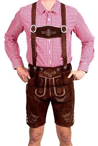 Bayerische Herren Trachten Lederhose kurz, Trachtenlederhose mit Trägern, original in dunkelbraun, Oktoberfest, Größe 56