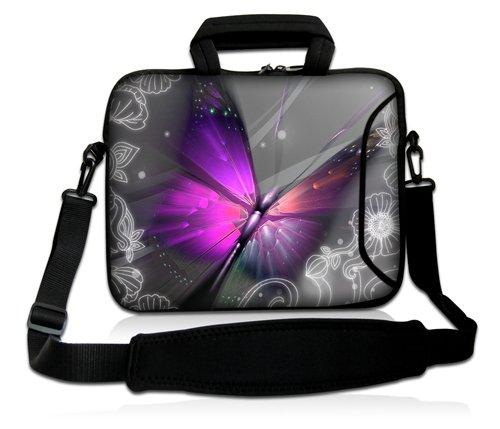 Luxburg® Design Laptoptasche Notebooktasche Sleeve mit Schultergurt und Fach für 17,3 Zoll, Motiv: großer Schmetterling