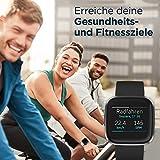 Fitbit Versa 2 - Gesundheits- & Fitness-Smartwatch mit Sprachsteuerung, Schlafindex & Musikfunktion, Schwarz/Carbon - 4
