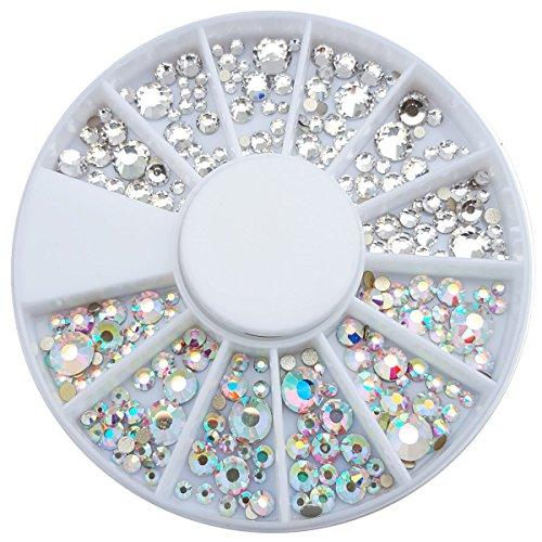Strassstein Rondell Mix verschiedene größen Weiss Silber und Weiss Silber irisierend 240 Stück Strasssteine aus Kristallglas