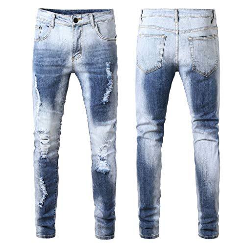 Malloom- Bekleidung Herren Mode Röhrenjeans Distressed Slim Elastic Jeans Denim Biker Jeans Schlanke Jeansarbeiten Taschen Sport - Classic Distressed Jeans