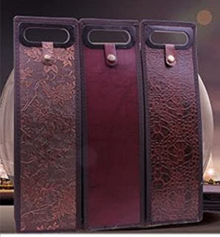 XICHEN@ 3 Pack Deluxe Red Wine Protection Tote Bag Holder Wine Bottle Bag - Grape leaf patterns Artificial leather wine bag