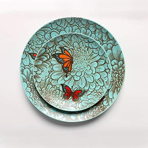 LI Teller- Kaufen Sie eine Platte, um die gleiche Schüssel zu senden - Runde Keramikschale im rustikalen Stil Schmetterlingsmuster-Geschirr (1 Packung) Tableware (größe : M)