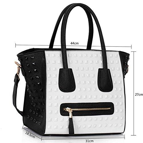 TrendStar Frauen Schultertasche Große Damen Handtaschen Neue Designer verzierte Berühmtenart Tote Schwarz/Weiß