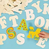 Large Wooden Letters for Children to Paint & Decorate, Wooden Templates(Pack of 52)