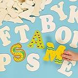 Große Buchstaben aus Holz zum Basteln und Bemalen für Kinder - ideal für Schriftzüge und als Dekoration - 52 Stück