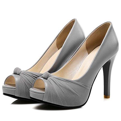 TAOFFEN Femme Mode Plateforme Peep Toe A Enfiler Escarpins Bas Soiree Talon Haut sandales 34 gris