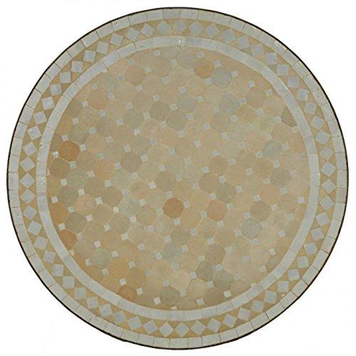 Mediterraner Gartentisch marokkanischer Mosaiktisch Ø 120 cm rund weiss terrakotta mit Gestell H 75 cm | Kunsthandwerk aus Marrakesch | Dekorativer Balkontisch Bistrotisch Beistelltisch | MT2113