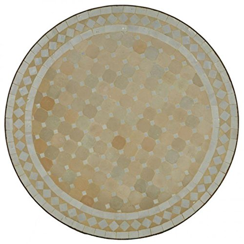 Casa Moro Marroquí Mosaico Mesa Ø60Blanco Diamantes