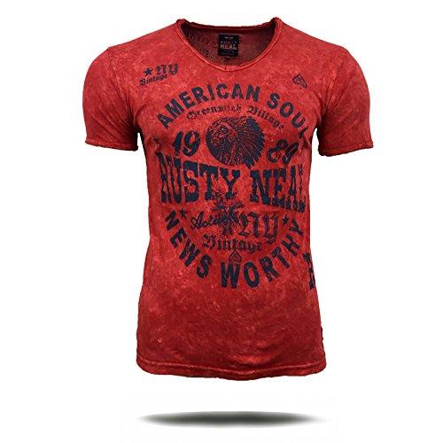 T-Shirt Shirt Herren Rot Anthrazit Grün bedruckt Motiv Kurzarm A16773 Avroni Bordo