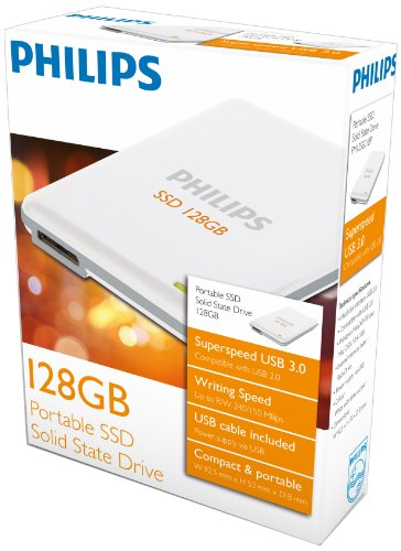 Philips Portable SSD Solid State Drive 128 GB PHSSD128GB weiss