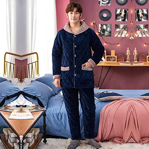 Handaxian Herbst und Winter warme Pyjamas dicken Flanell Herren Coral Fleece Home Service