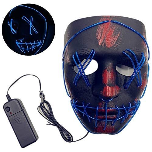 Dance Kostüm Ghost - ACC Halloween beleuchtete Maske, LED Halloween Grimasse Horror leuchtende Maske, Karneval Maske Kostüm 3 Lichtmuster, Halloween Ghost Dance Party,Blau