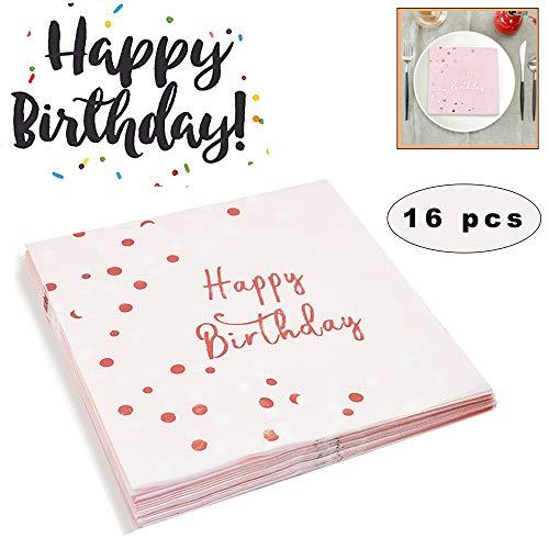 Sunshine smile Papierservietten Rosa Gold für Party, Servietten Geburtstag Rosegold, Einweg Happy Birthday servietten, Happy Birthday servietten rosa, Pink Party Paper Servietten (16 Stück)