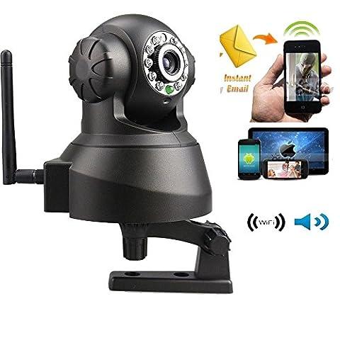 OUKU Pan Tilt Wireless Audio P2P IP Caméra IP (1/4 pouce CMOS, lentille 3.6mm) Accueil système de surveillance de sécurité Noir