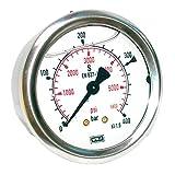 Hydraulik Manometer Glycerin NG63 Edelstahl Doppelskala hi. Bar Psi 1/4' versch. Druckbereiche Hydraulik, HS16, Ausführung 0 bis 40 bar