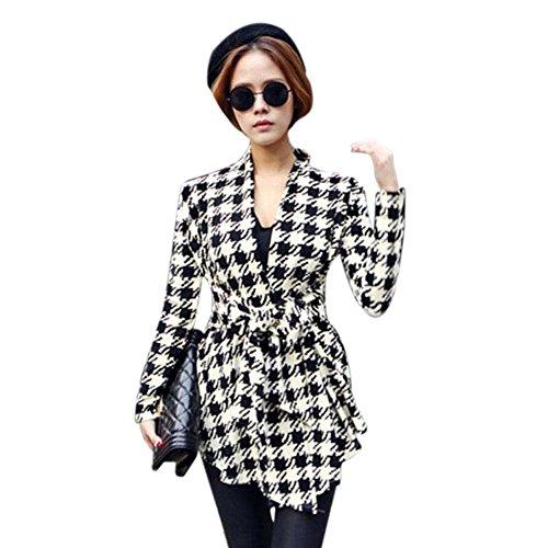 VJGOAL Otoño e Invierno para Mujer de Moda Casual Clásico patrón de Pata de Gallo Salvaje Rebeca Rebeca Chaqueta Outwear(XL,Negro)