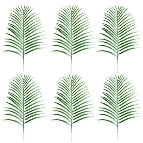 luoem Blätter Fake Faux Künstliche Blätter Grün einzelnes Blatt für Home Kitchen Party Dekorationen Handarbeit (grün)–6Stück