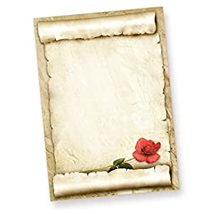 tatmotive rote rose briefpapier 50 blatt sch nes liebesbrief motivpapier. Black Bedroom Furniture Sets. Home Design Ideas