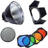 naconic BD-04granero puerta Honeycomb Grid y 4Gel De Color Filtro + reflector estándar Bowens para Flash de estudio