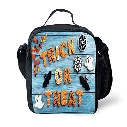 ZKHTO School Supplies Halloween,Fresh Trick or Treat Gingerbread Cookies on Blue Wooden Table Spider Web Ghost Decorative,Multicolor for Girls or Boys Washable (Cookies Spider Web Halloween)