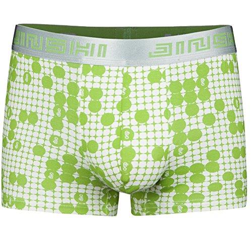 JINSHI Herren Bambusfaser Stretch Briefs ohne Eingriff Schnelltrocknend Unterwäsche Retro Boxer Shorts Grün Size 2XL (Stretch Sexy Herren Boxer)