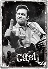 Idea Regalo - Targa in metallo 10 x 14 cm Johnny Cash Middle Finger Sign Targhe in metallo scudo Schilder 10169
