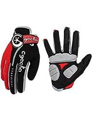 Cgecko Hombre Reflex Gel Bicicleta Guantes Ciclismo Esquí–Tabla de skate (Shock almohadillas, color rojo, tamaño large