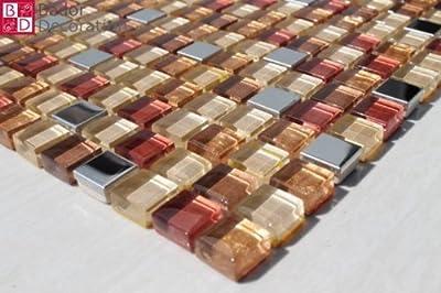 1 Matte Glasmosaik Mosaikfliesen Glas Edelstahl Braun Creme Silber Rot 30x30 Neu von Bador - TapetenShop