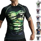 Khroom Hochwertiges Herren Funktionsshirt | Perfekt für Fitness & Gym - Kompressionsshirt im stylischen Helden Design (Hulk schwarz, XL)