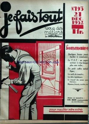 JE FAIS TOUT [No 193] du 21/12/1932