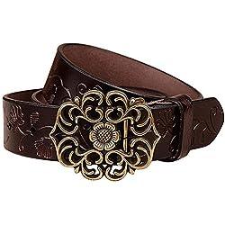 NormCorer Cinturón de cuero de la hebilla de la flor del cuero genuino de las mujeres para los pantalones vaqueros (115 cm de largo, café)