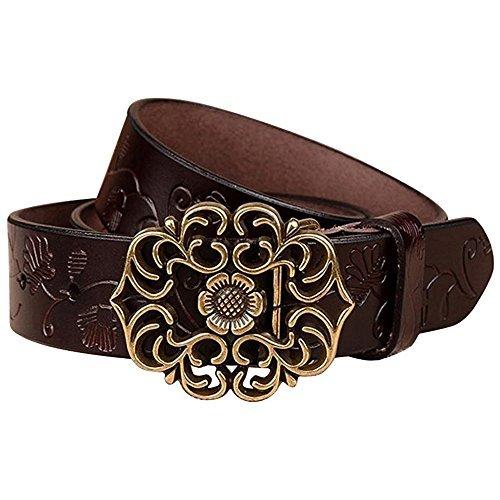 NormCorer Cinturón de cuero de la hebilla de la flor del cuero genuin