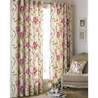 """Riva Paoletti Rosemoor Ringtop Eyelet Curtains (Pair) - Fuchsia Pink and Beige - Delicate Floral Design - Ready Made - Semi Sheer - PolyCotton - 168cm width x 137cm drop (66"""" x 54"""" inches)"""