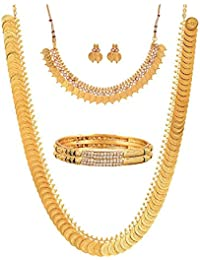 Zeneme Gold Plated Brass Bangles, Long Traditional Maharani Temple Coin And White Temple Coin Necklace Set For...