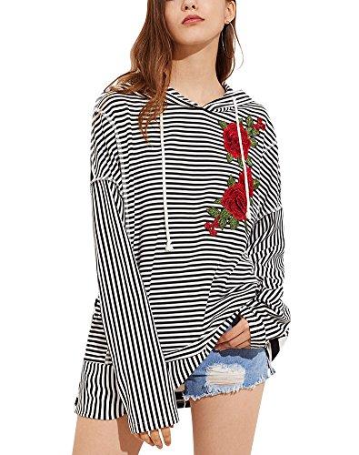 ShallGood Damen Streifen Kapuzenpullover Hoodie Sweatshirt Langarm Kapuzenpulli Pullover Tops Bluse Stickerei Kapuzen Schwarz DE 44 (Blossom Blk)
