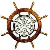 Premium madera de caoba tallada grande náutico barco de rueda Times reloj mundial | náutico decoración del hogar y regalos | Nagina internacional