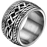 JewelryWe Schmuck 14,3mm Breite Biker Edelstahl-Ring Daumenring Punk Rock Stil Herren Farbe Silber Größe 52