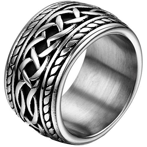 JewelryWe Schmuck 14,3mm Breite Biker Edelstahl-Ring Daumenring Punk Rock Stil Herren Halloween-Geschenk Farbe Silber Größe 52