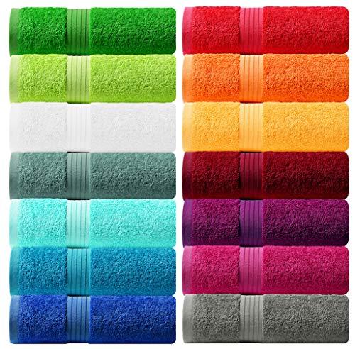 Lashuma Handtuch Set - Frotteeserie Linz - in 16 Farben und 6 Größen, Farbe: Aprikose Gelb, 2er Set Seiftuch 30x30 cm
