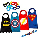 LAEGENDARY Disfraces de Superhéroes para Niños - 4 Capas y Máscaras - Logo Brillante de Capitán América - Juguetes para Niños y Niñas