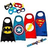 LAEGENDARY Superhelden-Kostüme für Kinder – 4 Capes und Masken – Im Dunkeln Leuchtendes Captain America-Logo – Spielsachen für Jungen und Mädchen – Weihnachtsgeschenk für Kinder - Karneval Fasching Costume