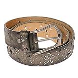Bon Sens Luxus Damen Damengürtel Gürtel Nieten Metallic Sterne besetzt (90 cm, Grün Schwarz Metallic)