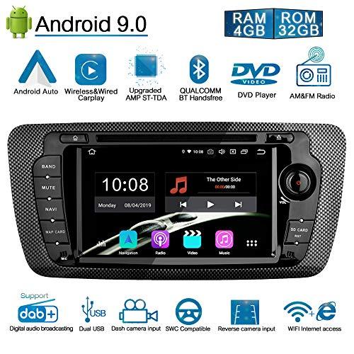 Ohok 7 Zoll Bildschirm 2 Din Autoradio Android 9.0 Pie Octa Core 4G+32G Radio mit Navi Moniceiver DVD GPS Navigation Unterstützt Bluetooth WLAN DAB+ für SEAT Ibiza 2009-2013