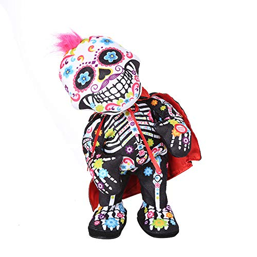 Halloween skull zombie doll - can twist, sing and dance - H.eternal  Happy Animated Party Decoration Toy (Not included batteries) (A)