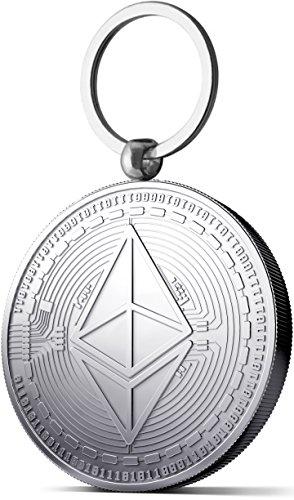 Physische Ethereum Medaille als Schlüsselanhänger mit echtem Silber überzogen. Wahres Sammlerstück mit Schlüsselring. EIN Muss für jeden Bitcoin-Fan