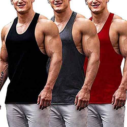 Burlady unterhemd achselhemd Tops Weste Herren einfarbiges fitnesstop fitnessshirt Sommer untershirt 3er Pack
