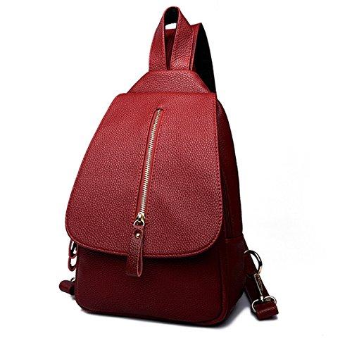 Sacchetto Di Spalla Universale Del Sacchetto Di Spalla Dello Zaino Di Modo Del Cuoio Di Cuoio Delle Donne PU Daypack Per Le Ragazze Adolescenti Multicolore Red