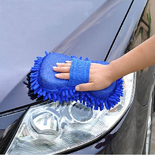 Aeoss Car Washing Sponge with Microfiber Washer Towel Duster For Cleaning Car. Bike Vehicle (BLUE)